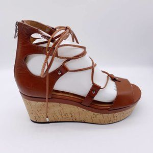 COACH Barkley Wedge Leather Sandals